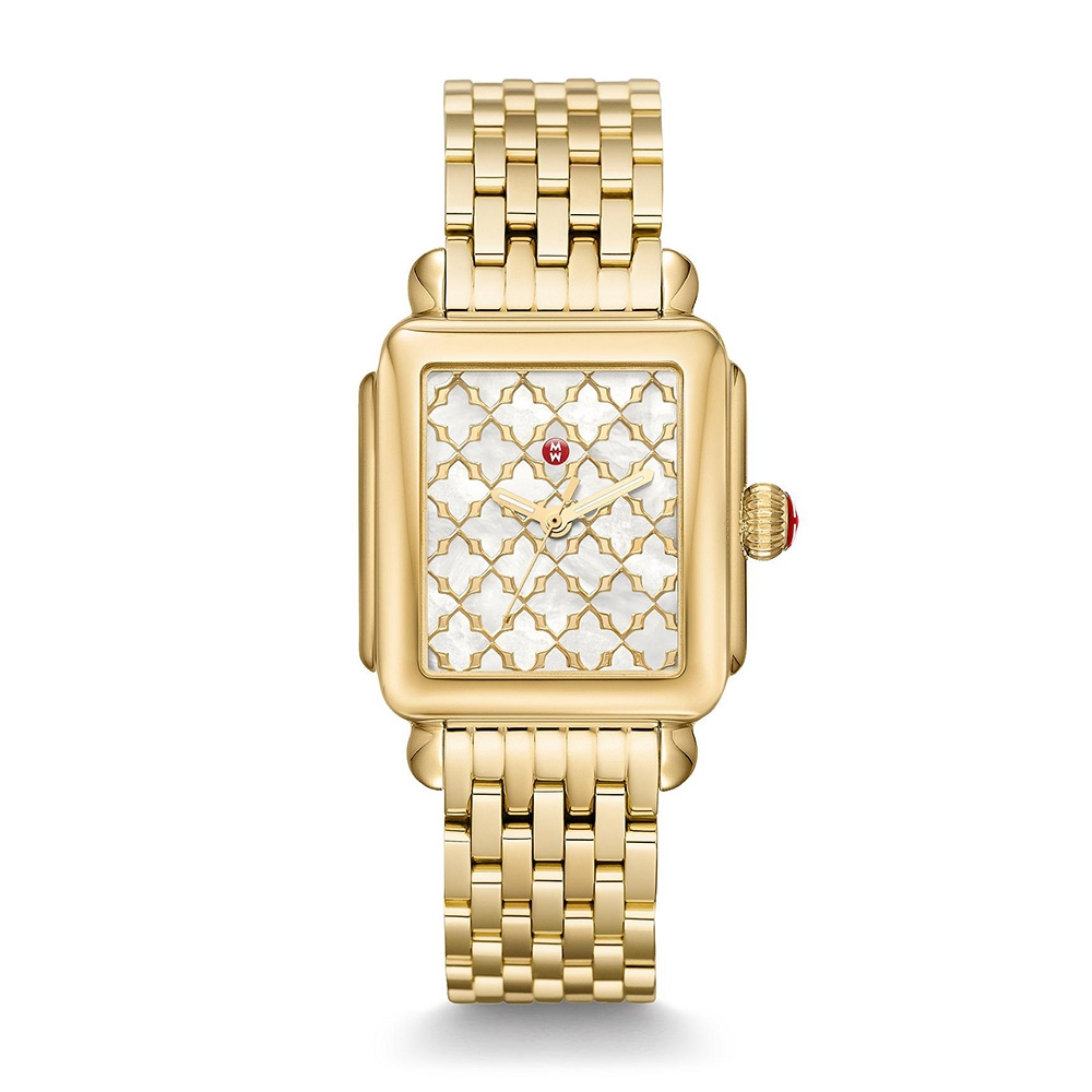 c1218907ba3 Michele Deco 18K Gold Plated Mosaic Dial Watch with Mother of Pearl Dial