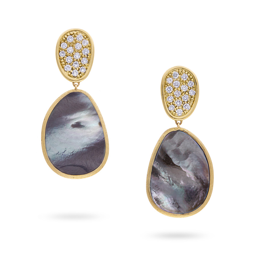 MARCO BICEGO LUNARIA BLACK MOTHER OF PEARL & DIAMOND DROP EARRINGS - DUNN JEWELERS.