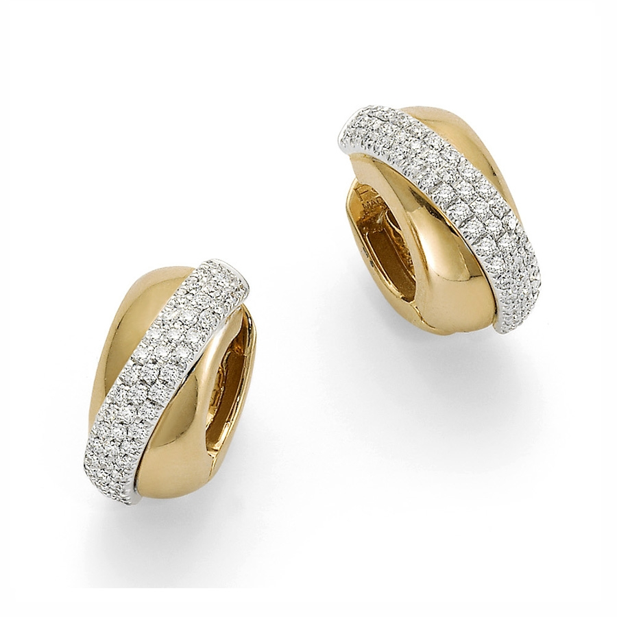 Fope Vendome Yellow Gold Crossover Pave Diamond Earrings