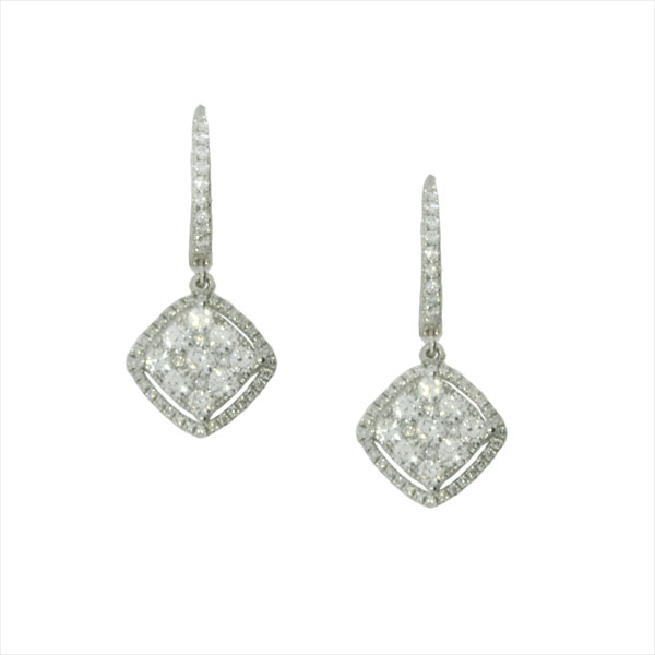 A bundle of brilliance emanates from these 18K white gold and diamond cluster earrings from Roberto Coin. A sparkly square turned on its side is framed by more gemstones, suspended from a diamond studded hoop. The jewelry designer's signature ruby graces the back of an earring back; a secret between the artist and the adorned. For more product specifications, please view the additional information tab below.