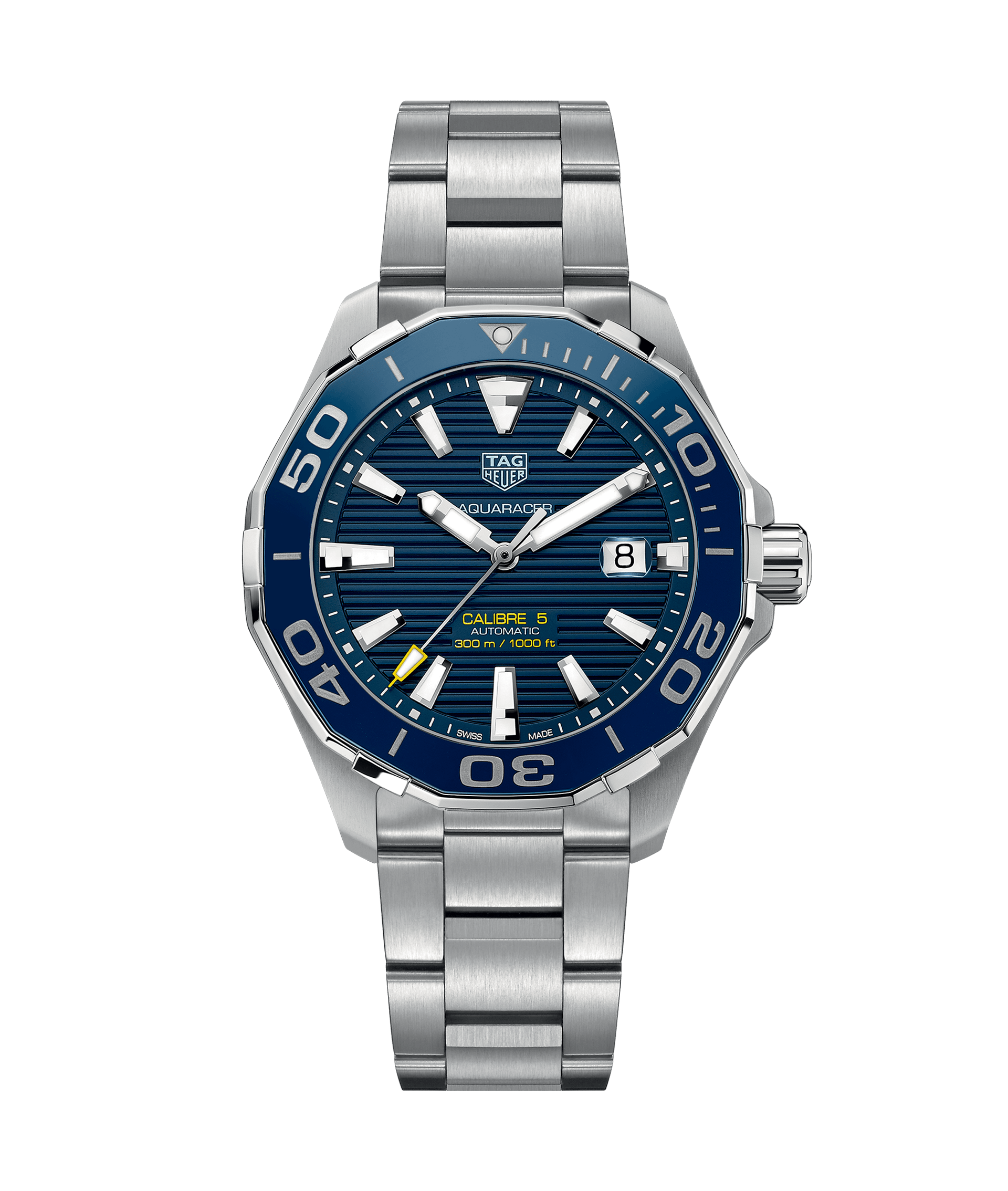 b1a91ef07483 Tag Heuer Aquaracer 43mm Steel Calibre 5 Watch with Blue Detailing