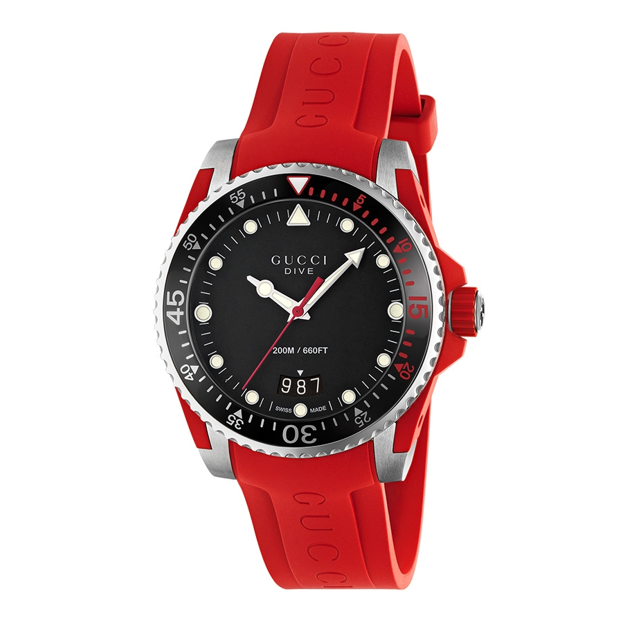 ebab9a92a47 Gucci Dive 40mm Black Dial Red Rubber Strap Watch
