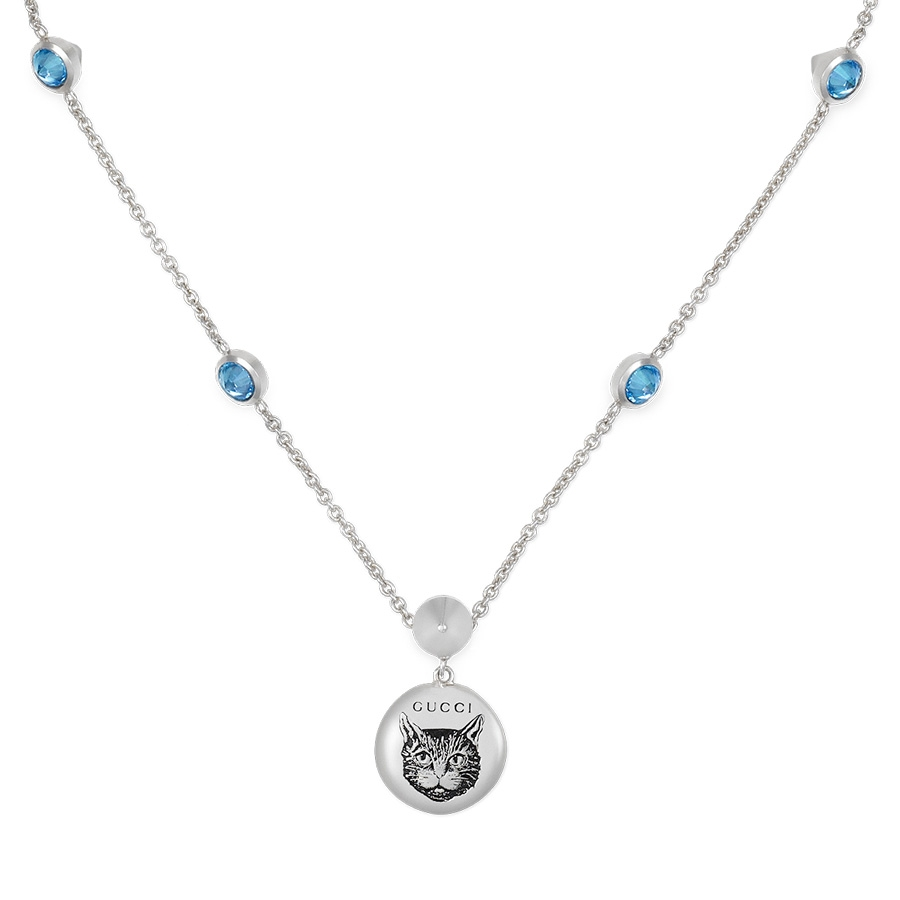 2a1c259a Gucci Blind for Love Sterling Silver and Blue Zirconia Mystic Cat Necklace