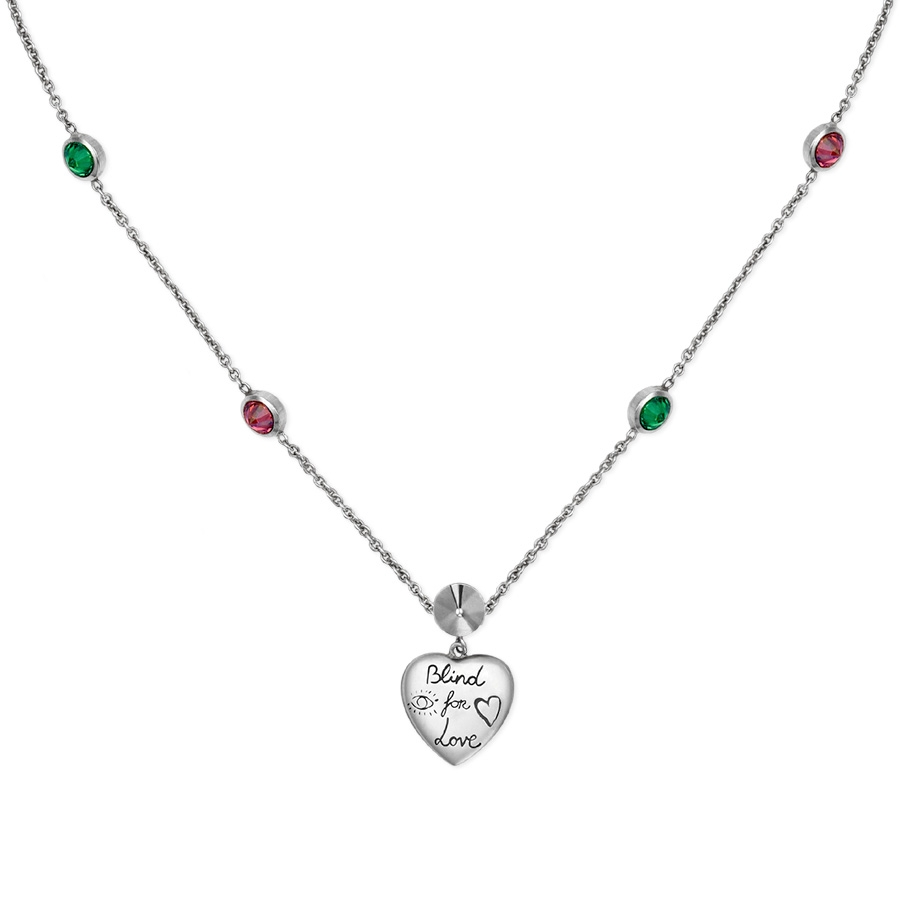 654507e53 Gucci Blind for Love Sterling Silver Heart Pendant Necklace YBB502174001