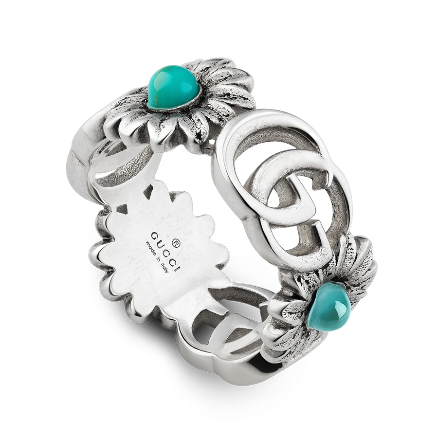 adf8cf280 Gucci GG Marmont Sterling Silver Double G Turquoise Flower Ring ...