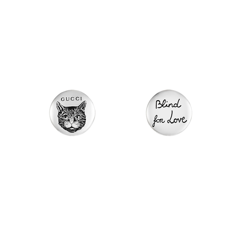 Gucci Blind For Love Sterling Silver Mystic Cat Engraved Stud Earrings